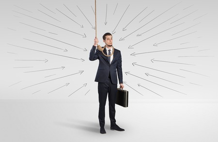 Concept of stressed businessman with arrows pointing at him Reklamní fotografie