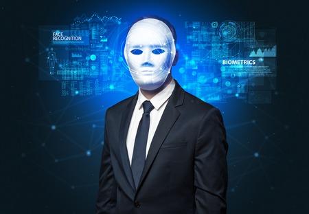 Biometric verification - young man face recognition concept Foto de archivo
