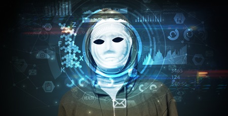 Sistema de reconocimiento facial. Hombre joven sobre fondo oscuro, concepto de reconocimiento facial