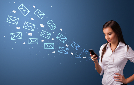 Businesswoman using phone with online communication concept around Imagens - 121157812
