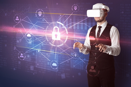 Businessman with DJI goggles controlling 3D illustrated network, and series on the background