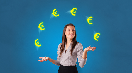 Young happy person juggle with euro symbol
