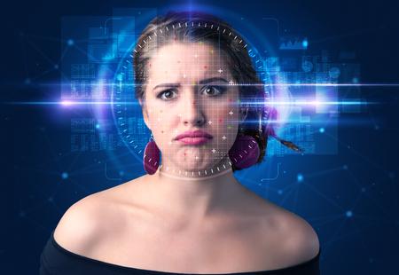 Biometric verification - woman face detection, high technology concept