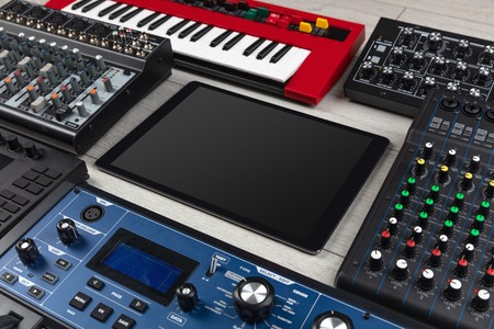 Empty tablet and electronic music instruments