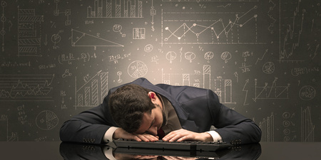 Elegant teacher fell asleep at his workplace with full draw blackboard concept Imagens