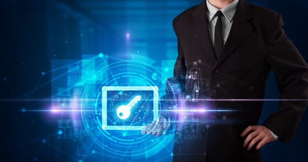 Hand holding tablet with online security and data protection concept