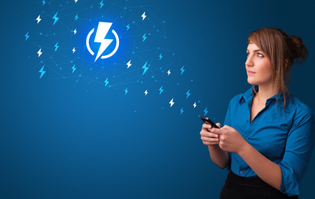 Young person using phone with power concept