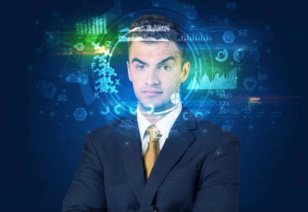 Biometric identification and Facial recognition system concept. Stockfoto - 122869935