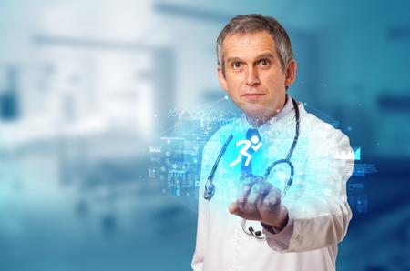 Doctor touching hologram screen displaying healthcare running symbols 写真素材