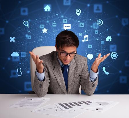 Secretary work with office and multitask concept 版權商用圖片