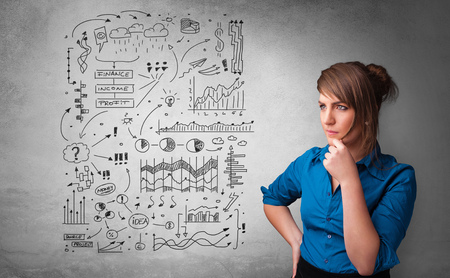 Young person thinking with office problems concept Stock Photo