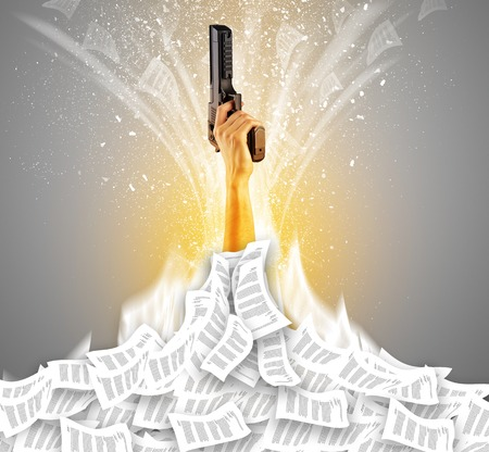 Hand buried in document pile and breaking out from it Stock Photo - 122923144
