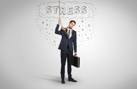 Concept of stressed businessman at work