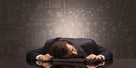 Elegant teacher fell asleep at his workplace with full draw blackboard concept Foto de archivo