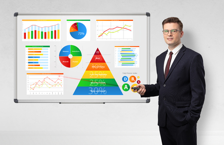 Handsome businessman presenting health reports on white board with laser pointer