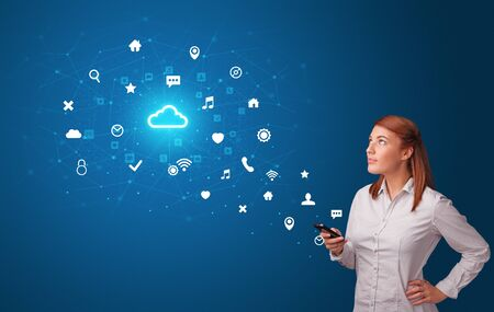 Young person using phone with cloud technology and online communication concept