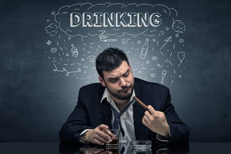 Loser drunk man with drinking, drug, hangover, alcoholic drugs concept 版權商用圖片
