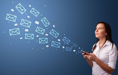 Businesswoman using phone with online communication concept around Foto de archivo
