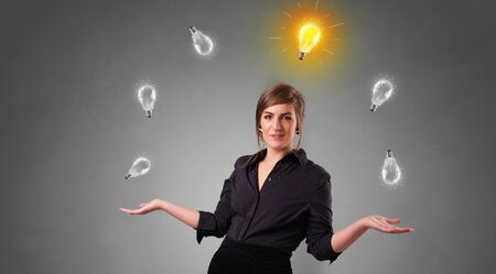 Young business person juggle with new idea concept