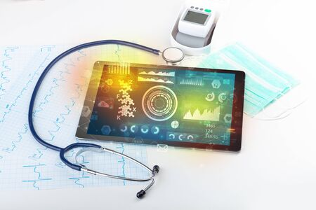 Report and cell composition concept with modern medical technology Stockfoto