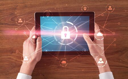Hand touching online network security  button and cloud, connection and contact concept Stock Photo