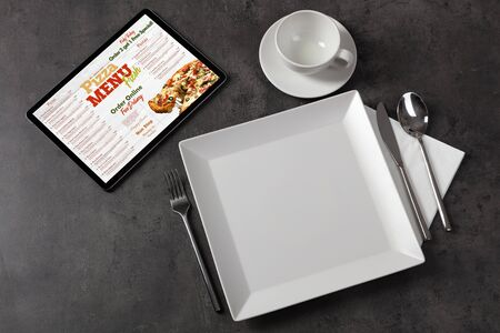 Non stop order online pizza menu with tableware concept