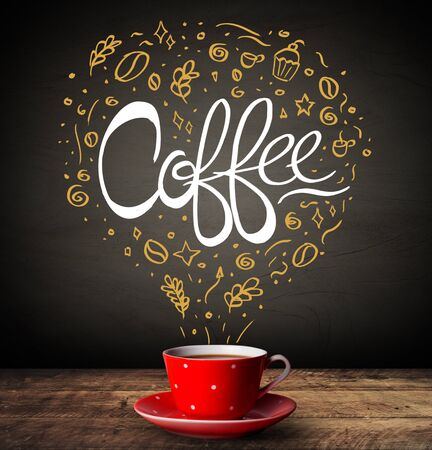 Steaming hot drink decorated with doodle illustrations and coffee inscription