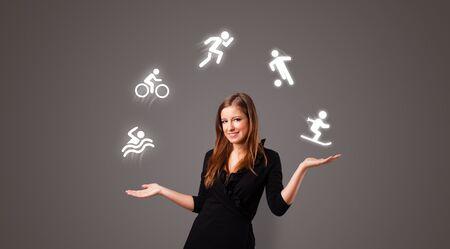 Młody student żongluje koncepcją sportową Zdjęcie Seryjne