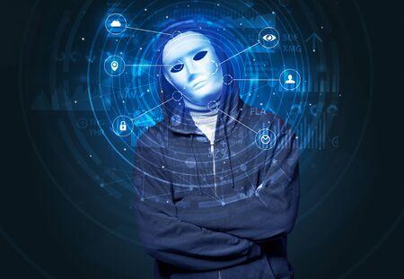 Tecnología biométrica de reconocimiento facial y concepto de inteligencia artificial.