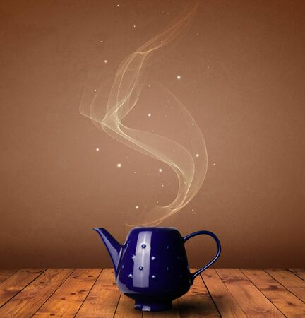 Steaming cup of tea concept