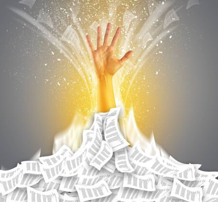 Hand buried in document pile and breaking out from it Stok Fotoğraf