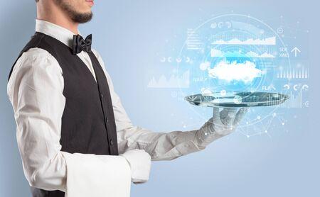 Elegant young waiter serving cloud technology concept