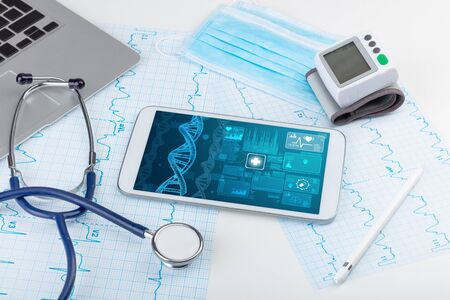 Genetic test and biotechnology concept with medical technology devices Stock Photo