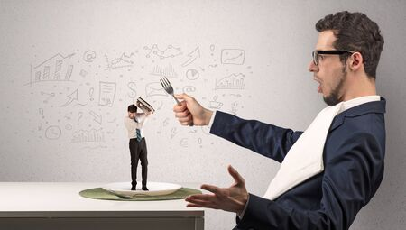 Big businessman eating small one with doodled reports, charts and graphs concept