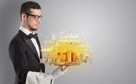Waiter serving big city with report concept on tray 版權商用圖片
