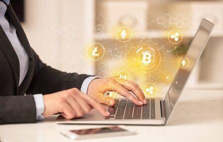 Business woman working on tablet with cryptocurrency bitcoin link network and online concept