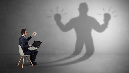 Businessman staying and offering stuffs to a shadow businessman
