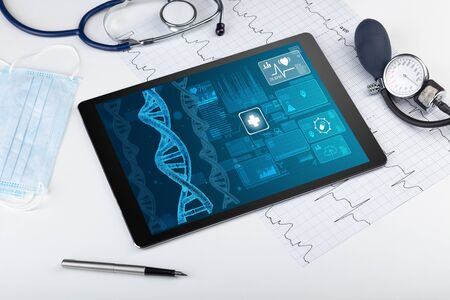 Genetic test and biotechnology concept with medical technology devices Imagens