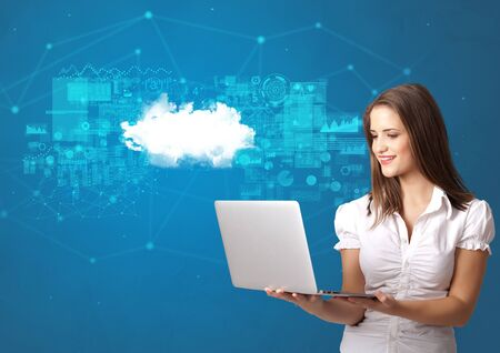 Young smiling person presenting cloud technology concept Imagens