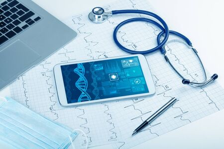 Genetic test and biotechnology concept with medical technology devices 写真素材
