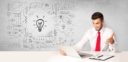 Young business person with new idea and workflow concept 스톡 콘텐츠