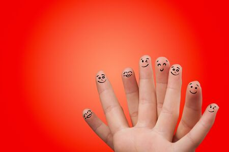 Cute smiley fingers loving and hugging each other Фото со стока - 129447335