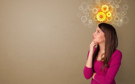 Business person thinking with brainstorming concept and copy space Stockfoto