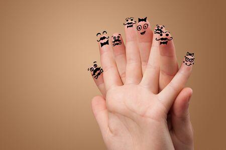 Elegant happy face fingers hugs each other
