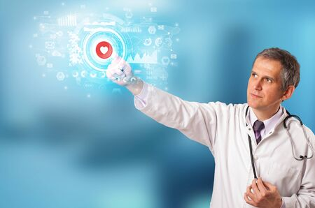 Doctor touching hologram screen displaying medical symbols and charts Stock Photo