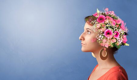 Blossomed head with colorful flowers and spring concept