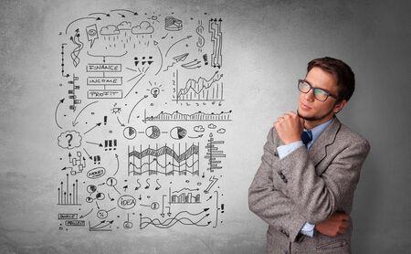 Junge Person, die mit Büroproblemen-Konzept denkt