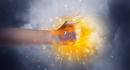 Hand hits strongly and makes fire beam around