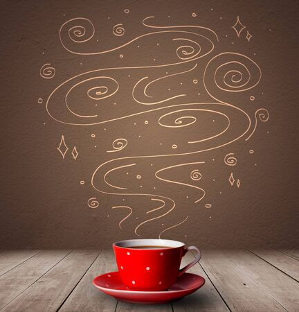 Steaming warm drink decorated with doodle line art 写真素材 - 129449020