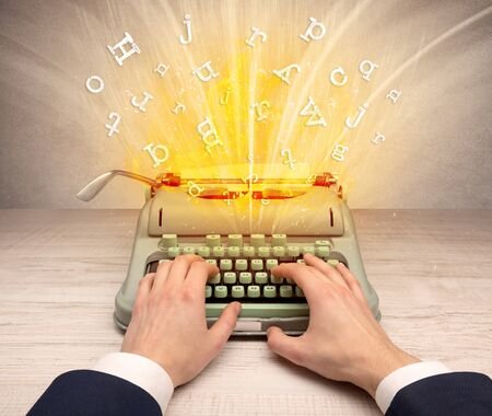 First person perspective image with exploding letters from a vintage typewriter concept